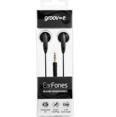 Groov-e GVEB5BK EarFones In-Ear Headphones|Flexible|3.5mm Jack|1.2M Cord|Black| Thumbnail 2