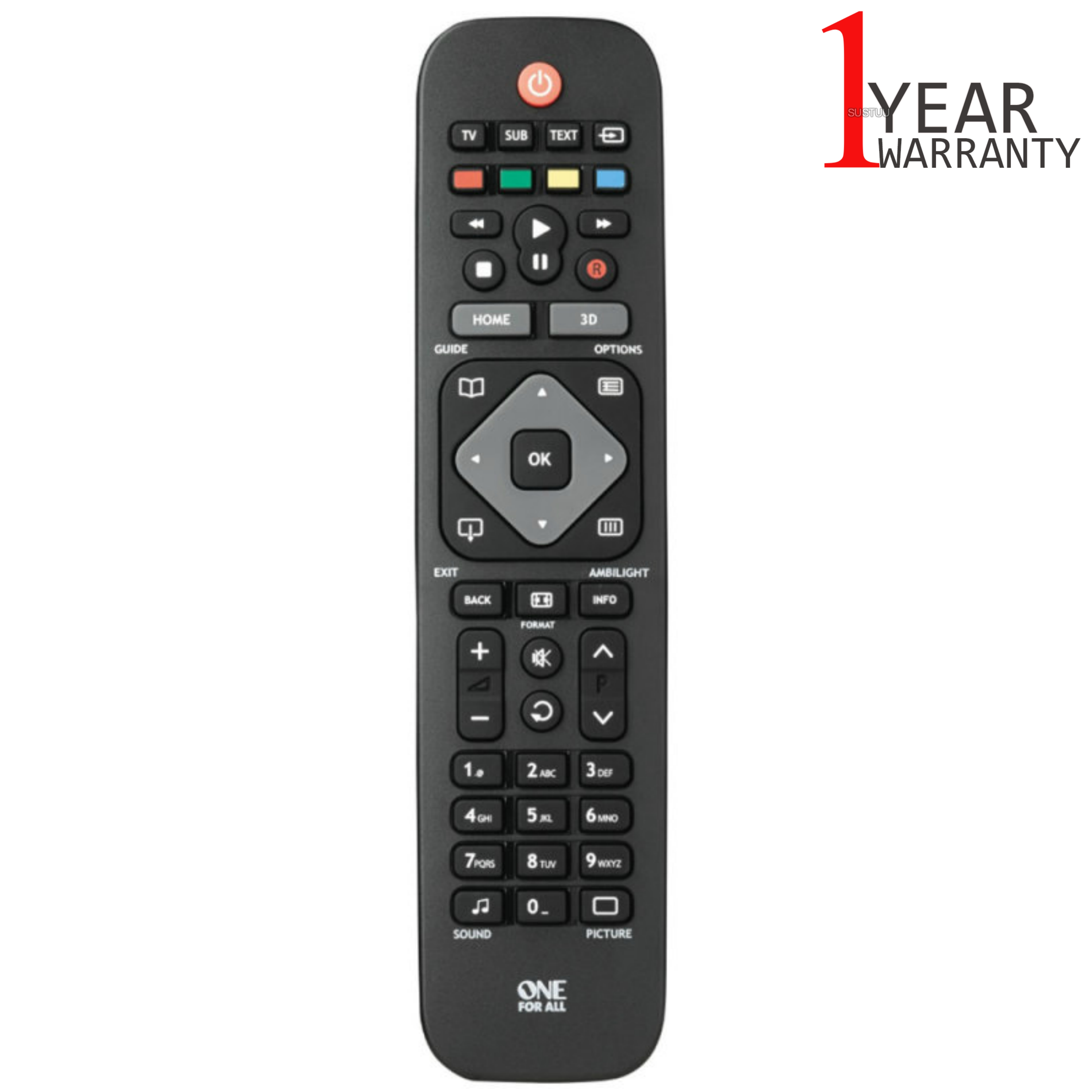 One For All Replacement Philips TV Remote Control | No Setup Required | Black | URC1913