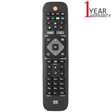 One For All Replacement Philips TV Remote Control | No Setup Required | Black | URC1913 Thumbnail 1