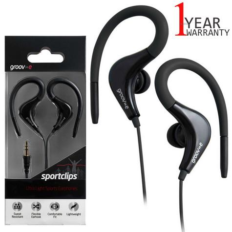 Groov-e Sports Over Ear Earphones for iPhone/iPod/MP3/Android Smartphones Black Thumbnail 1