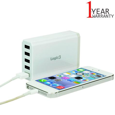 Logic3 Portable Hi-Power USB Smart Charger | Travel Use | 5-Port | LG301 | White | NEW Thumbnail 1