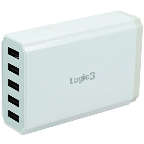 Logic3 Portable Hi-Power USB Smart Charger | Travel Use | 5-Port | LG301 | White | NEW Thumbnail 2