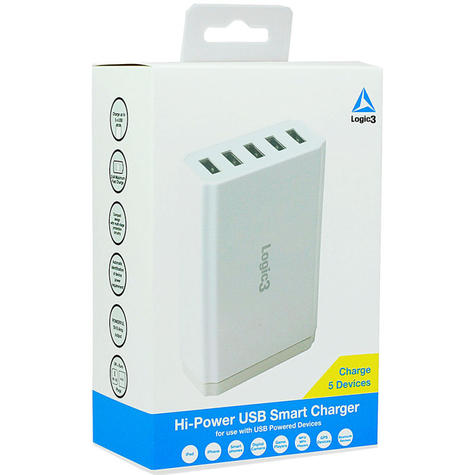 Logic3 Portable Hi-Power USB Smart Charger | Travel Use | 5-Port | LG301 | White | NEW Thumbnail 4