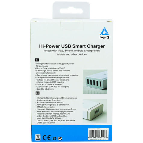 Logic3 Portable Hi-Power USB Smart Charger | Travel Use | 5-Port | LG301 | White | NEW Thumbnail 5