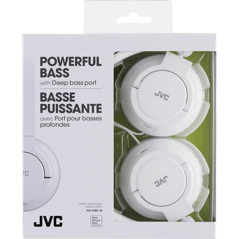 JVC Powerful Bass On-Ear Stereo Lightweight Overhead Headphones - White Thumbnail 2