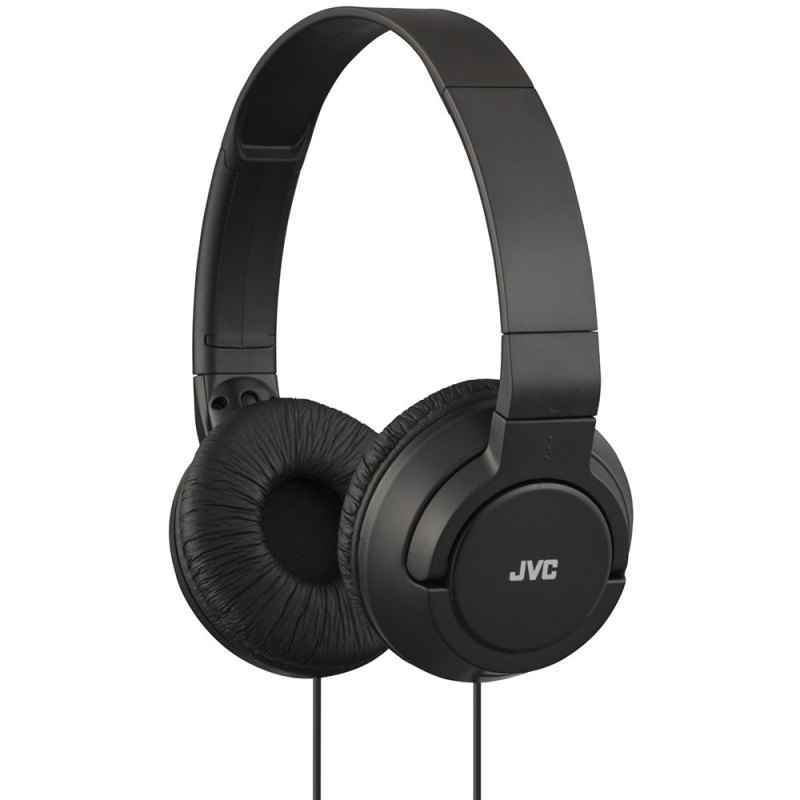 JVC HAS180B Powerful Bass On-Ear Stereo Lightweight Overhead Headphones - Black