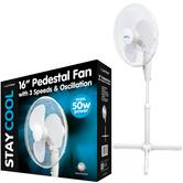 Lloytron 16 Inch Pedestal Fan | 3 Speed Settings | Home-Office Use | F1221WH | White | NEW