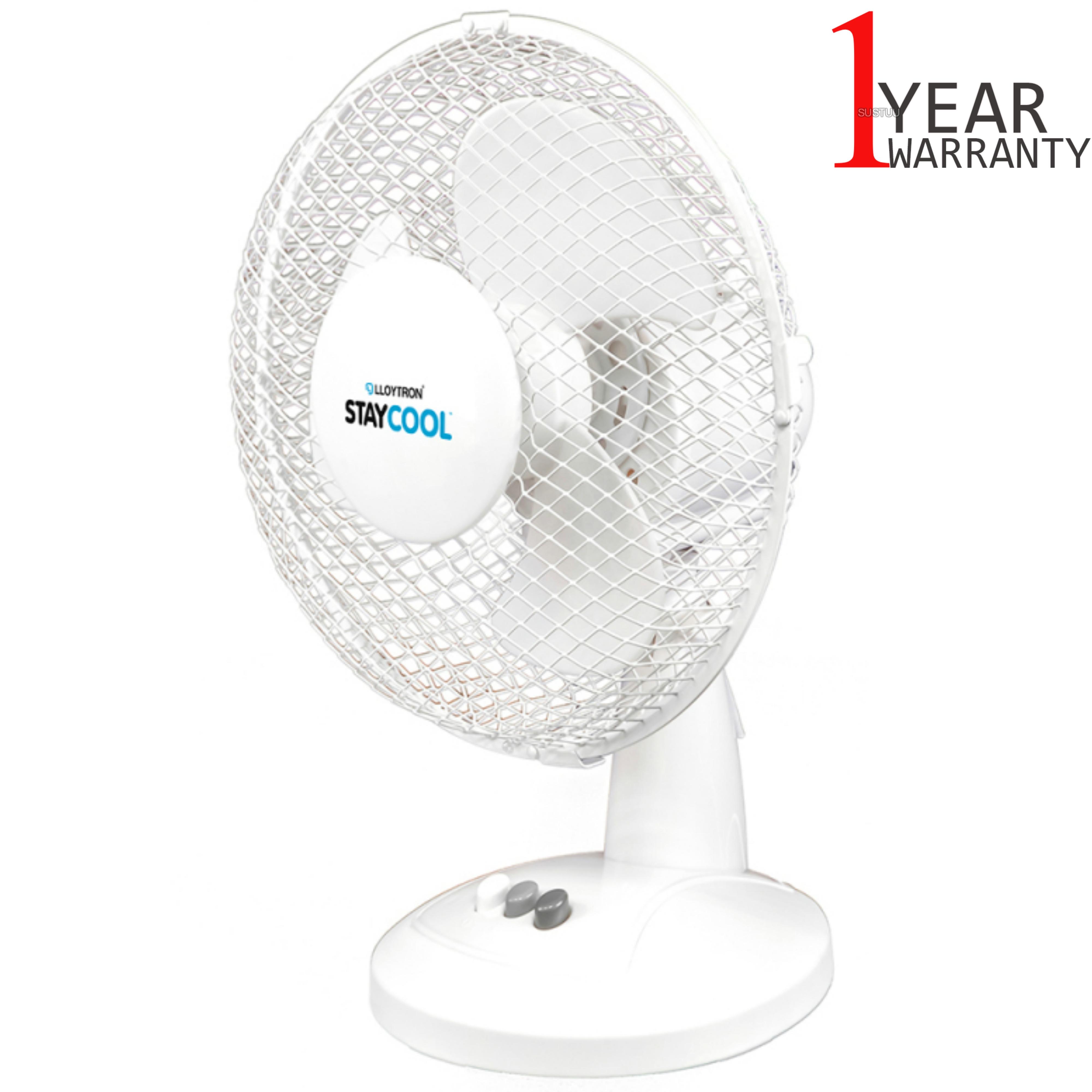 Lloytron Stay Cool 9'' 30W Desk Fan | Home Office Bedroom Use | 90°Oscillation | White