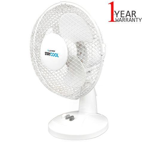 Lloytron Stay Cool 9'' 30W Desk Fan | Home Office Bedroom Use | 90°Oscillation | White Thumbnail 1