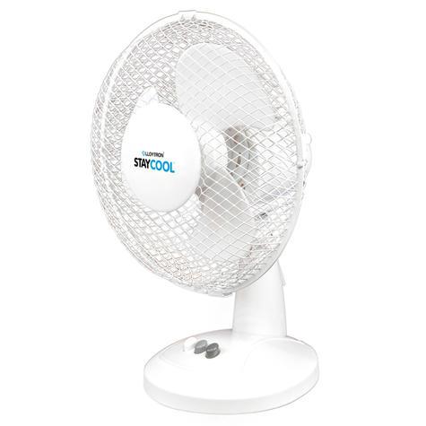 Lloytron Stay Cool 9'' 30W Desk Fan | Home Office Bedroom Use | 90°Oscillation | White Thumbnail 2