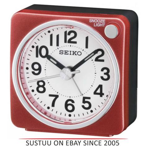 Seiko QHE118R Bedside Alarm Clock|Small Travel Clock|Snooze Light|Red| Thumbnail 1