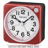 Seiko QHE118R Bedside Alarm Clock|Small Travel Clock|Snooze Light|Red|