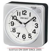 Seiko QHE118S Bedside Alarm Clock|Small Travel Clock|Snooze Light|Silver|