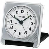 Seiko QHT015S New Travel Alarm Clock|Plastic Case|Light Beep Alarm|Silver Analog