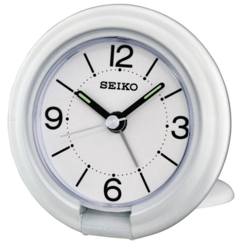 Seiko QHT012W Travel Analogue Luminous Bedside Desk Beep Alarm Clock New - White