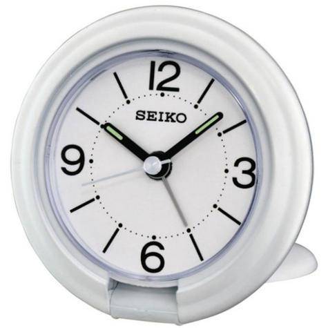 Seiko QHT012W Travel Analogue Luminous Bedside Desk Beep Alarm Clock New - White Thumbnail 1