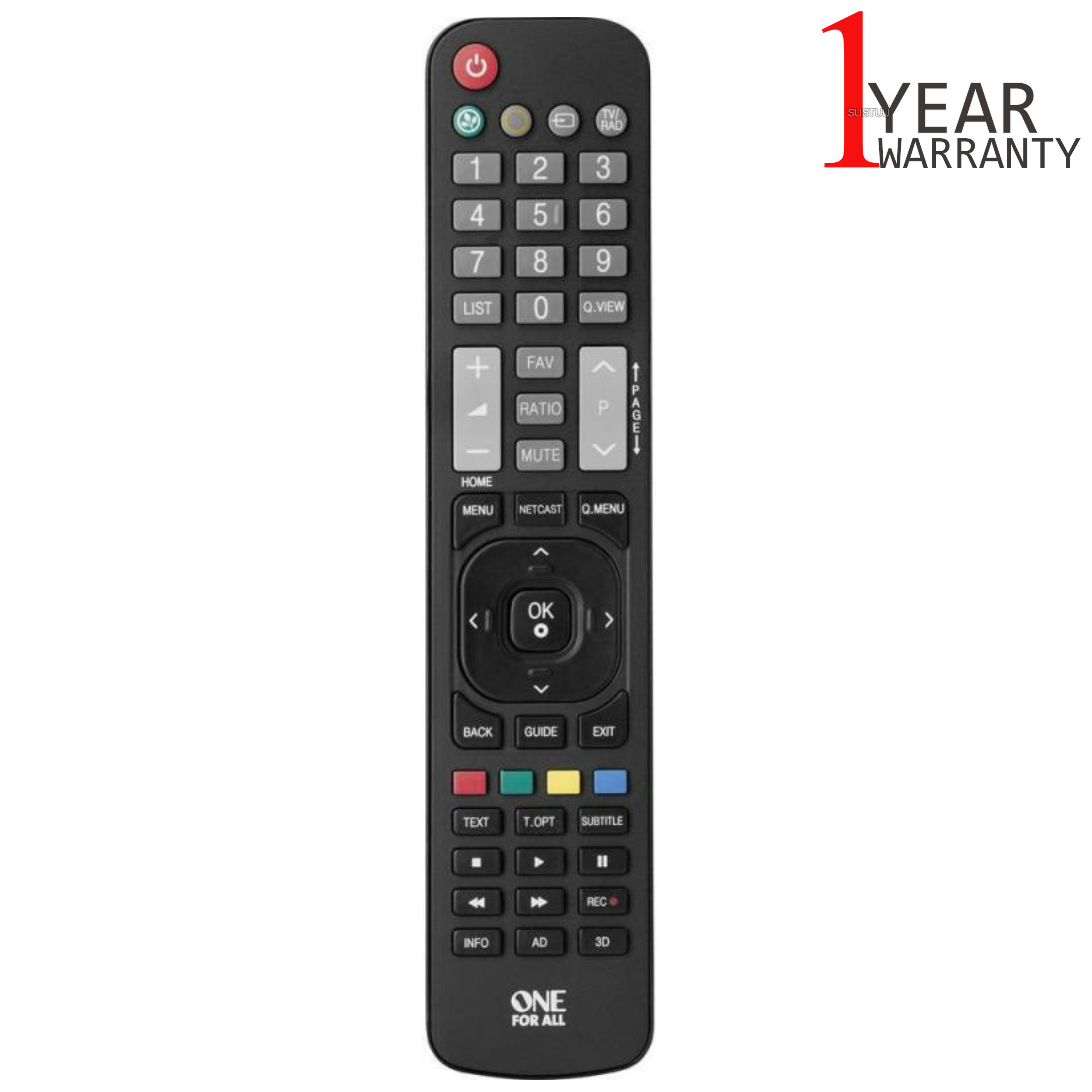 One For All LG TV Replacement Remote Control | No Set Up Required | Black | URC1911