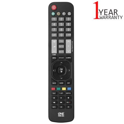 One For All LG TV Replacement Remote Control | No Set Up Required | Black | URC1911 Thumbnail 1