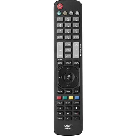 One For All LG TV Replacement Remote Control | No Set Up Required | Black | URC1911 Thumbnail 2