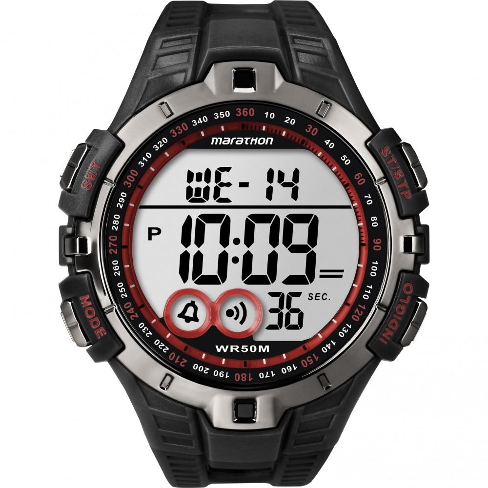 Timex Men's T5K423 Marathon Quartz Watch|LCD Dial|Digital Display|Black Resin|
