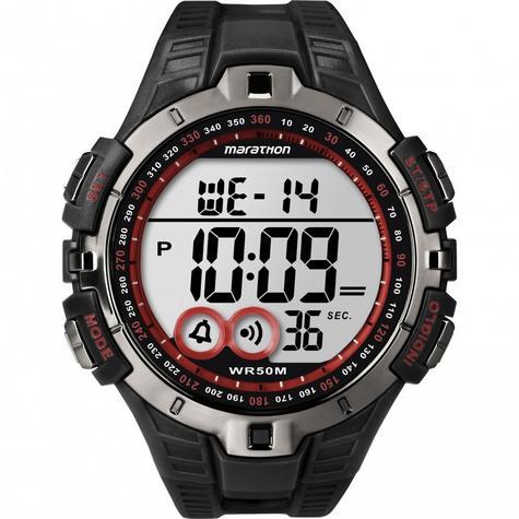 Timex Men's T5K423 Marathon Quartz Watch|LCD Dial|Digital Display|Black Resin| Thumbnail 1