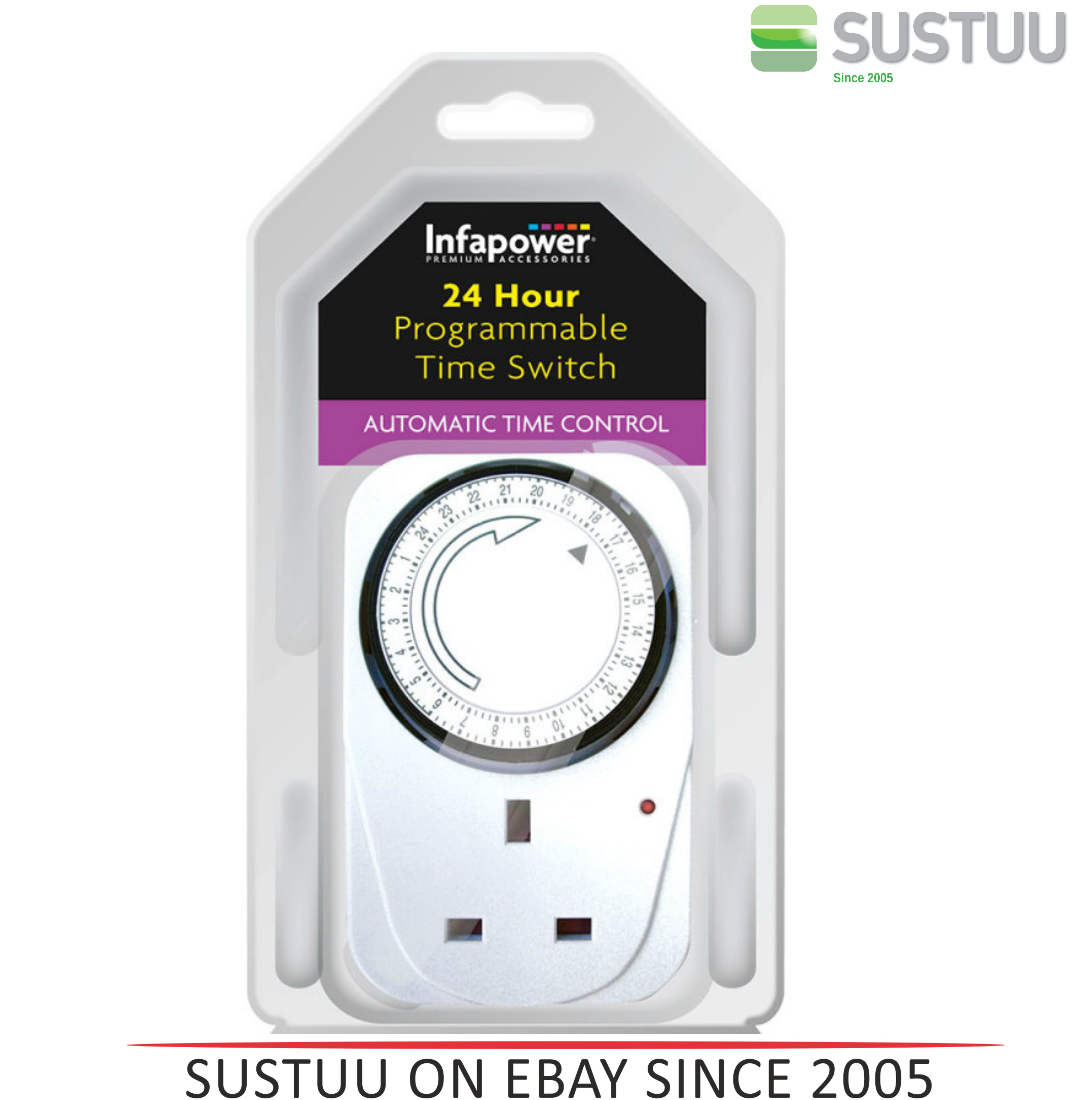 Infapower X011 Programmable Automatic 24 hour Time Switcher  - White