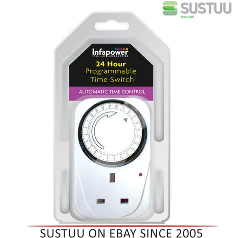 Infapower X011 Programmable Automatic 24 hour Time Switcher  - White Thumbnail 1
