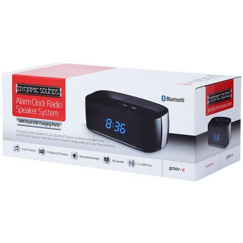 Groov-e GVSP407BK Alarm Clock Radio Bluetooth Speaker System & USB Ports - Black Thumbnail 2
