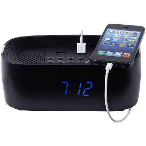 Groov-e GVSP407BK Alarm Clock Radio Bluetooth Speaker System & USB Ports - Black Thumbnail 3