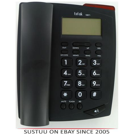 Tel UK 18071B Venice Telephone|CallerID|Wall Mountable|Extra Large Display|Black Thumbnail 1