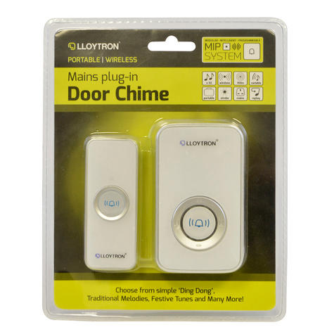 Lloytron 32 Melody Mains Plug-in Wireless Door Chime with MiPs - White  B7505WH Thumbnail 2