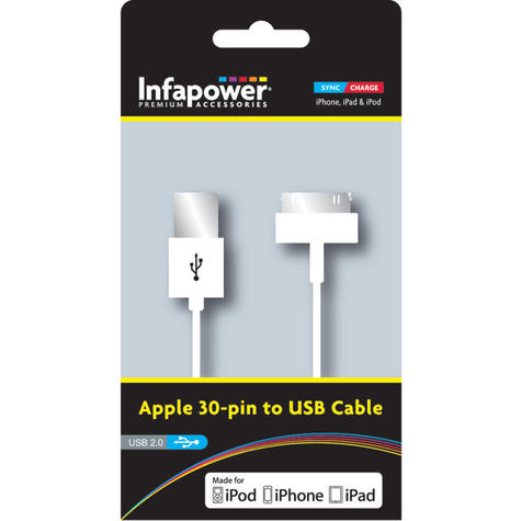 Infapower 30 Pin Charge-Sync Cable To USB Cable | USB 2.0 | P010 | White | 1 Metre | NEW Thumbnail 2