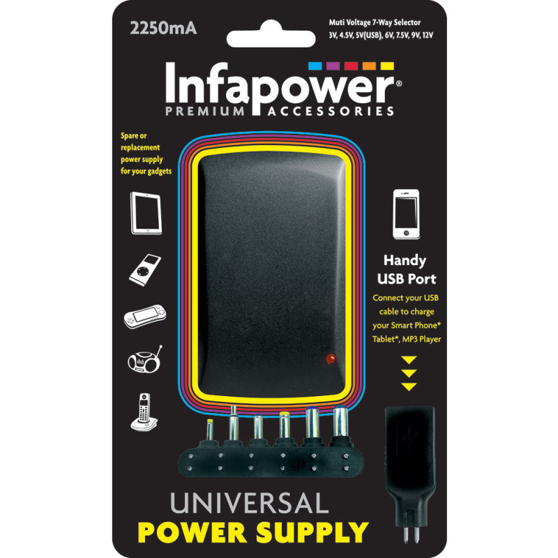 Infapower 2250mA 7-Way Universal Power Supply AC/DC Adaptor for Gadgets - P004