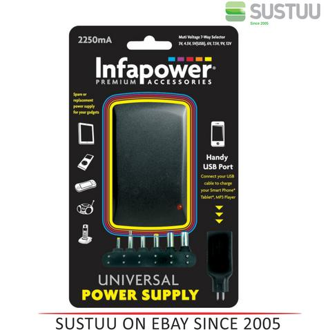 Infapower 2250mA 7-Way Universal Power Supply AC/DC Adaptor for Gadgets - P004  Thumbnail 1