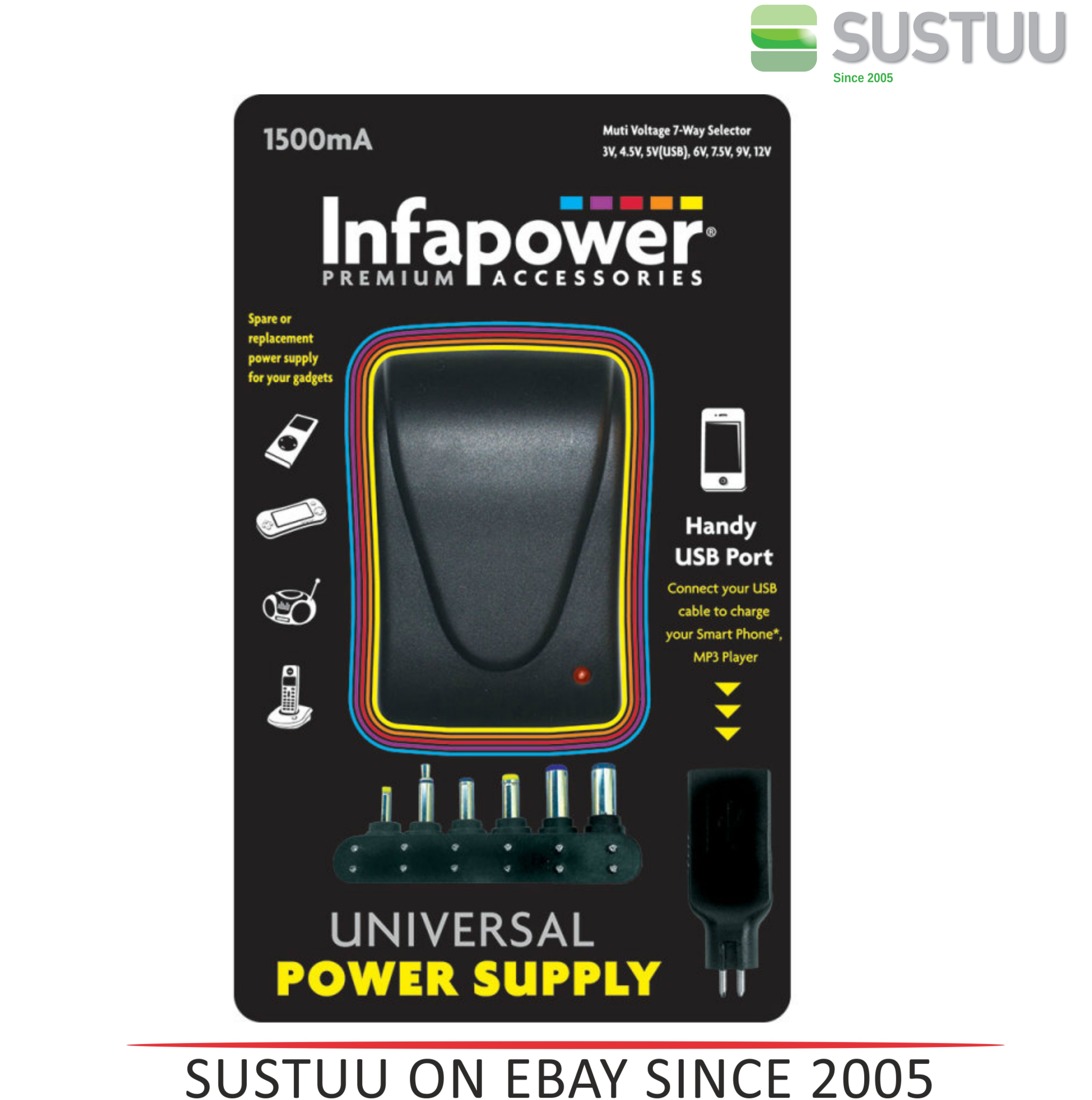 Infapower 1500mA 7-Way Universal Power Supply AC/DC Adaptor for Gadgets - P003