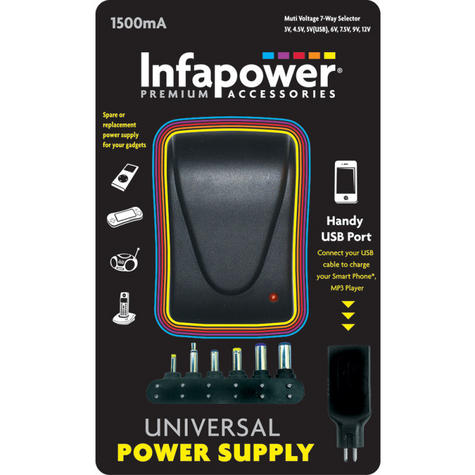 Infapower 1500mA 7-Way Universal Power Supply AC/DC Adaptor for Gadgets - P003 Thumbnail 2