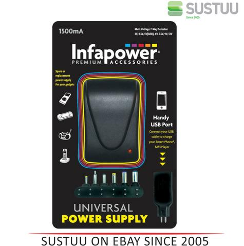 Infapower 1500mA 7-Way Universal Power Supply AC/DC Adaptor for Gadgets - P003 Thumbnail 1