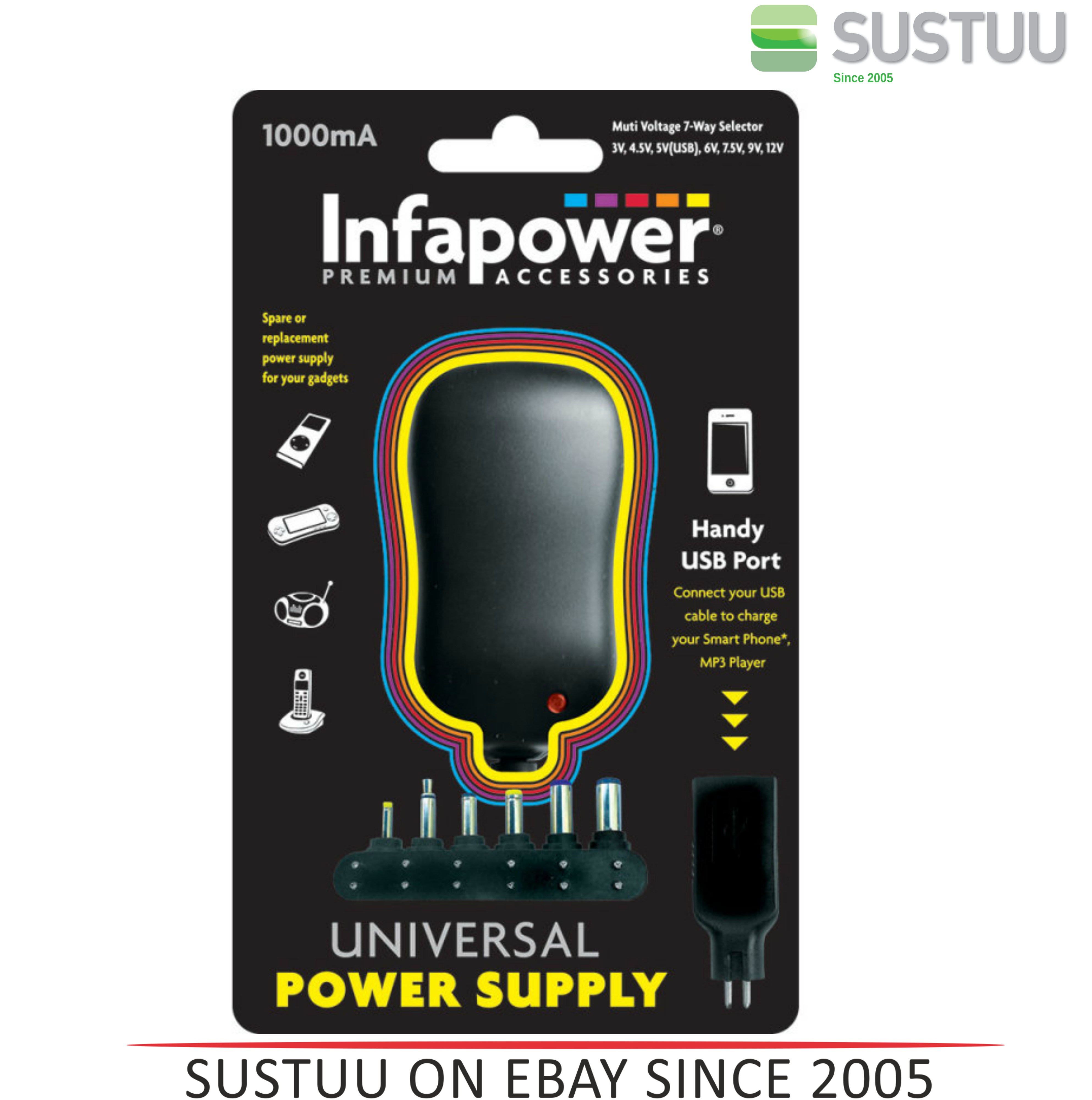 Infapower 1000mA 7-Way Universal Power Supply AC/DC Adaptor for Gadgets - P002