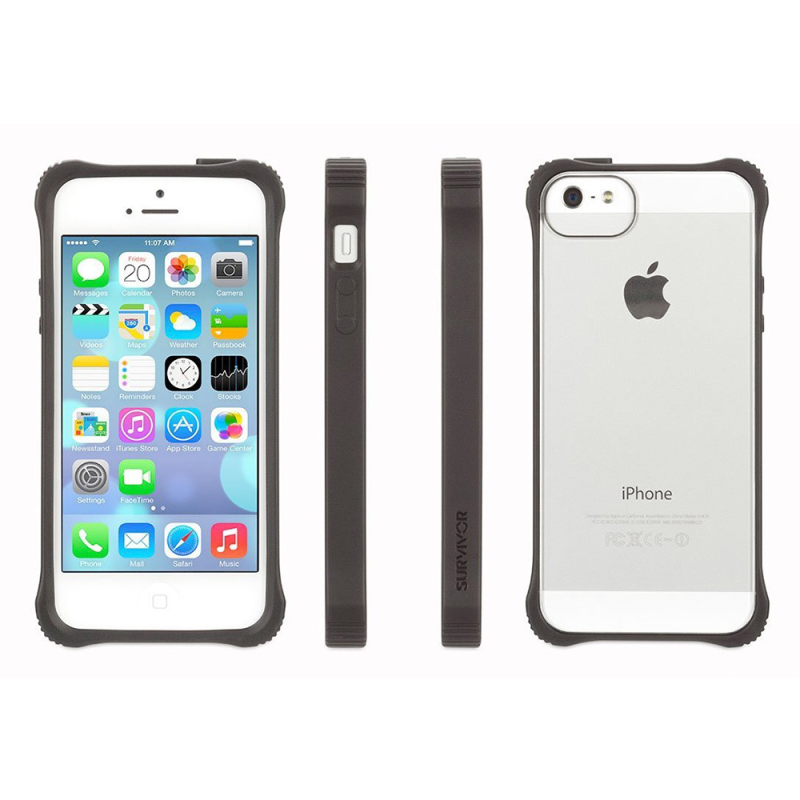 Griffin GB36413-2 Survivor Tough Crystal Clear Bumper Case|For iPhone 5|Black|