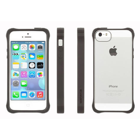 Griffin GB36413-2 Survivor Tough Crystal Clear Bumper Case|For iPhone 5|Black| Thumbnail 1
