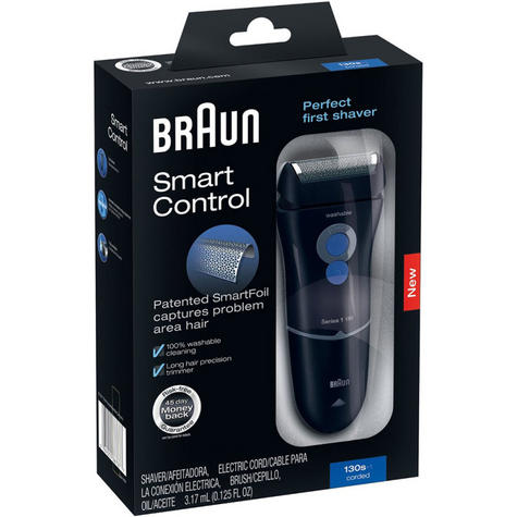 Braun Series 1 130s-1 Mens Electric Mains Trimmer/Shaver With SmartFoil | Washable Thumbnail 2