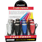 Infapower F006 9-LED Mini Pocket Heavy Power Torch|Rugged|Shockproof|Pack of 12|