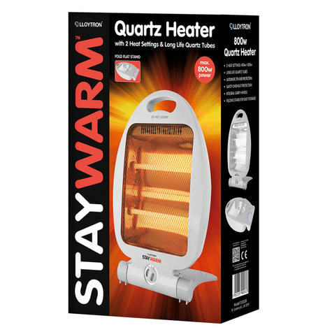 Lloytron F2102GR Quartz Heater With Carring Handle |2 Heat Settings|800W|Grey Thumbnail 2
