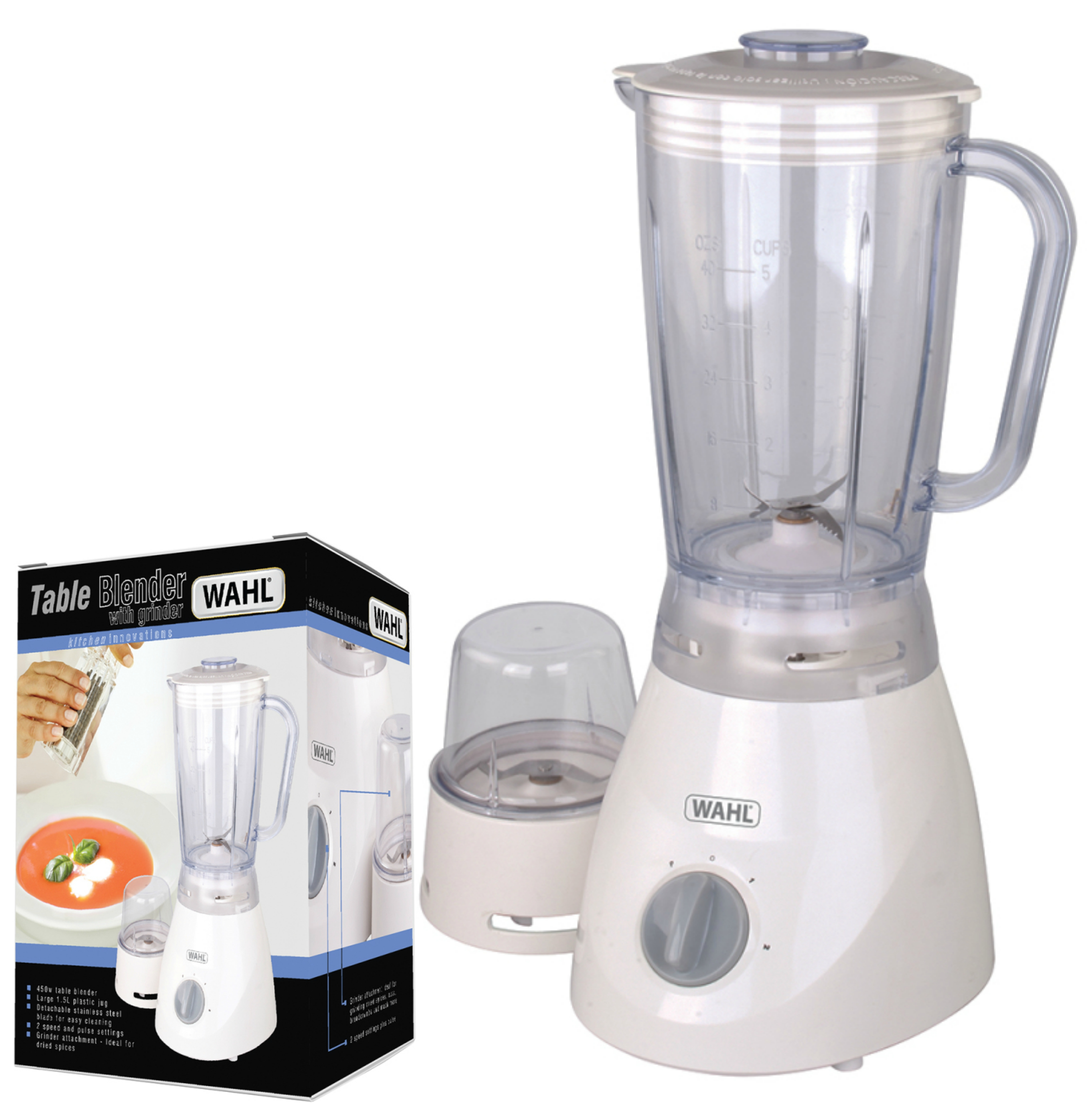 Wahl ZX805 Table Blender|Grinder|2 Speed|Pulse Setting|1.5 L Plastic Jug|450 W|