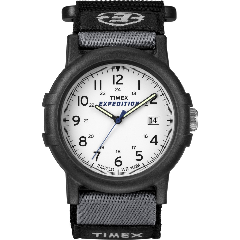 Timex Mens Camper Wrist Watch|Analog Display|Black Resin Case|White Face|Casual|