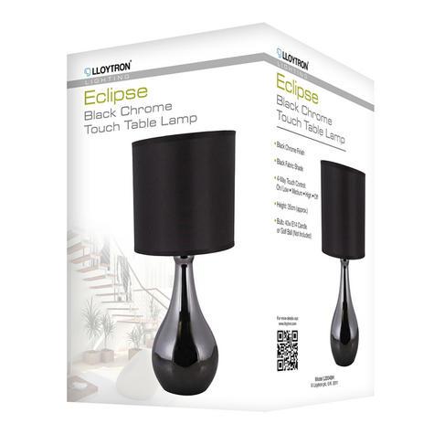 Lloytron L2204BH 'Eclipse' Touch Table Lamp / White Room Light / Black Chrome / Thumbnail 2