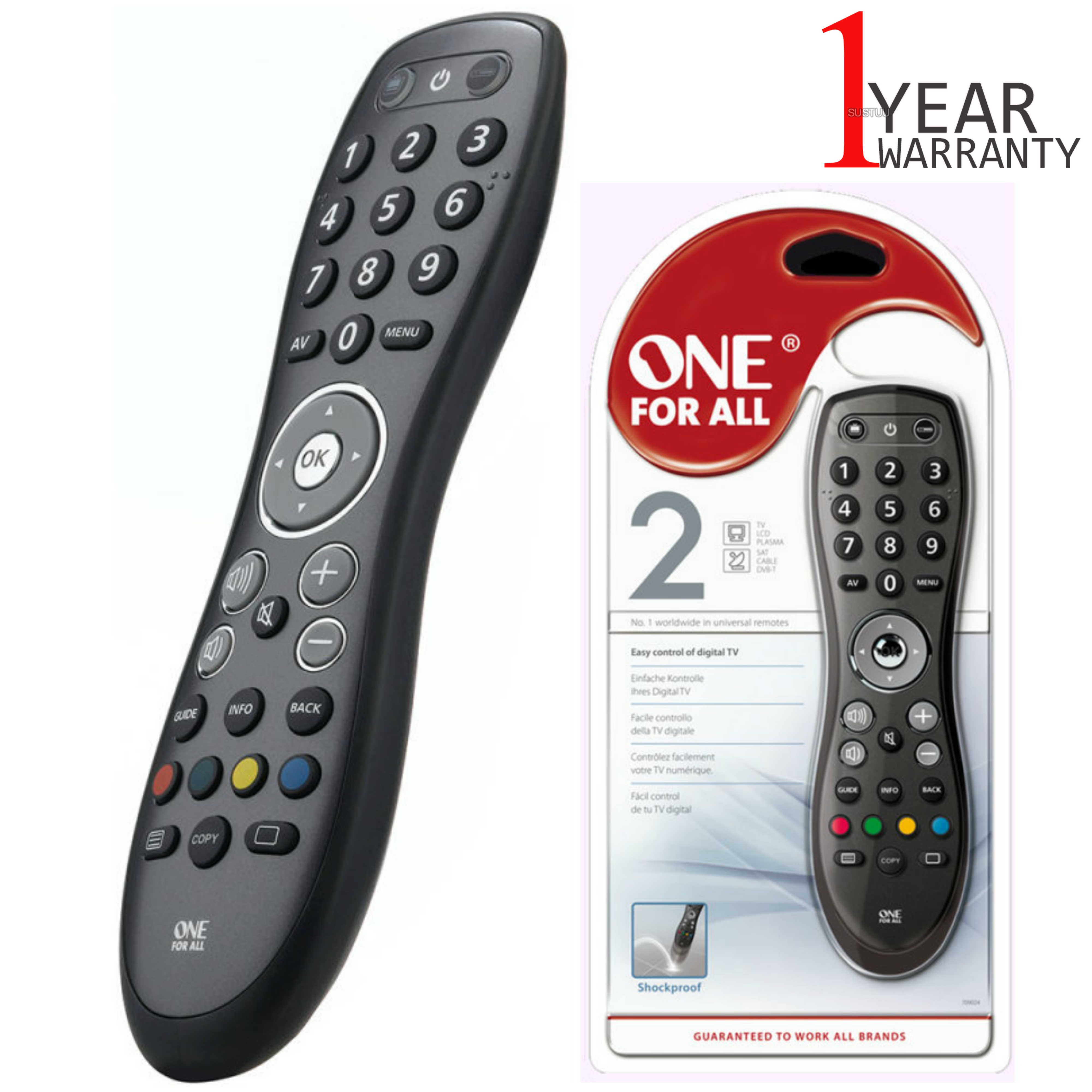One For All Easy & Robust 2 in 1 TV Remote Control | Easy To Use | Black | URC6420 | NEW