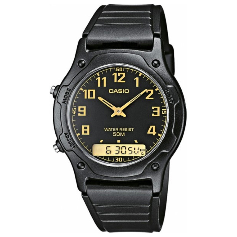 Casio AW-49H-1BVEF Casio Men Dual Watch|Analog/Digital|Daily Alarm|50Mtr WR|Black