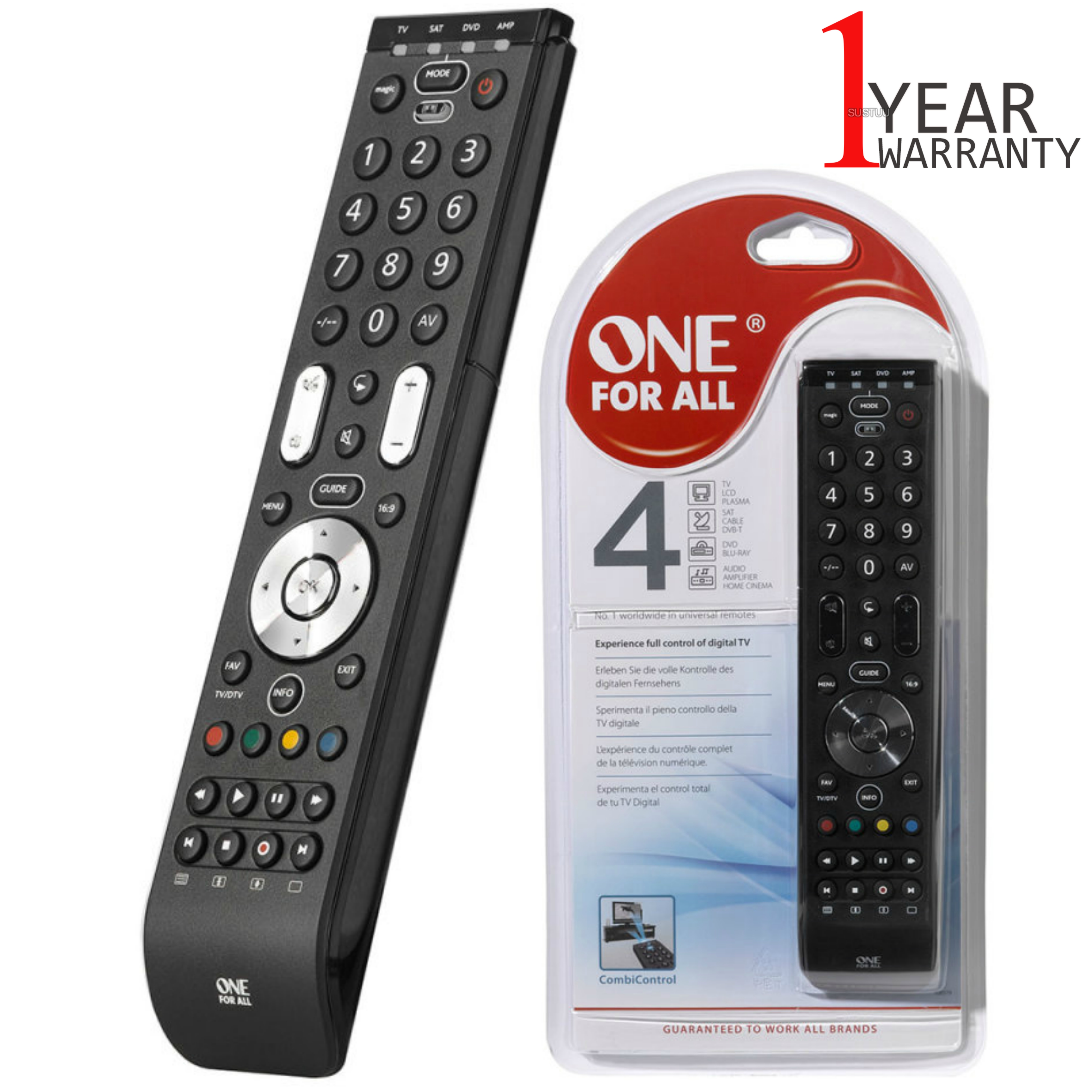 One For All Essence 4 in 1 Universal Remote Control | 3 Steps Setup | Black | URC7140