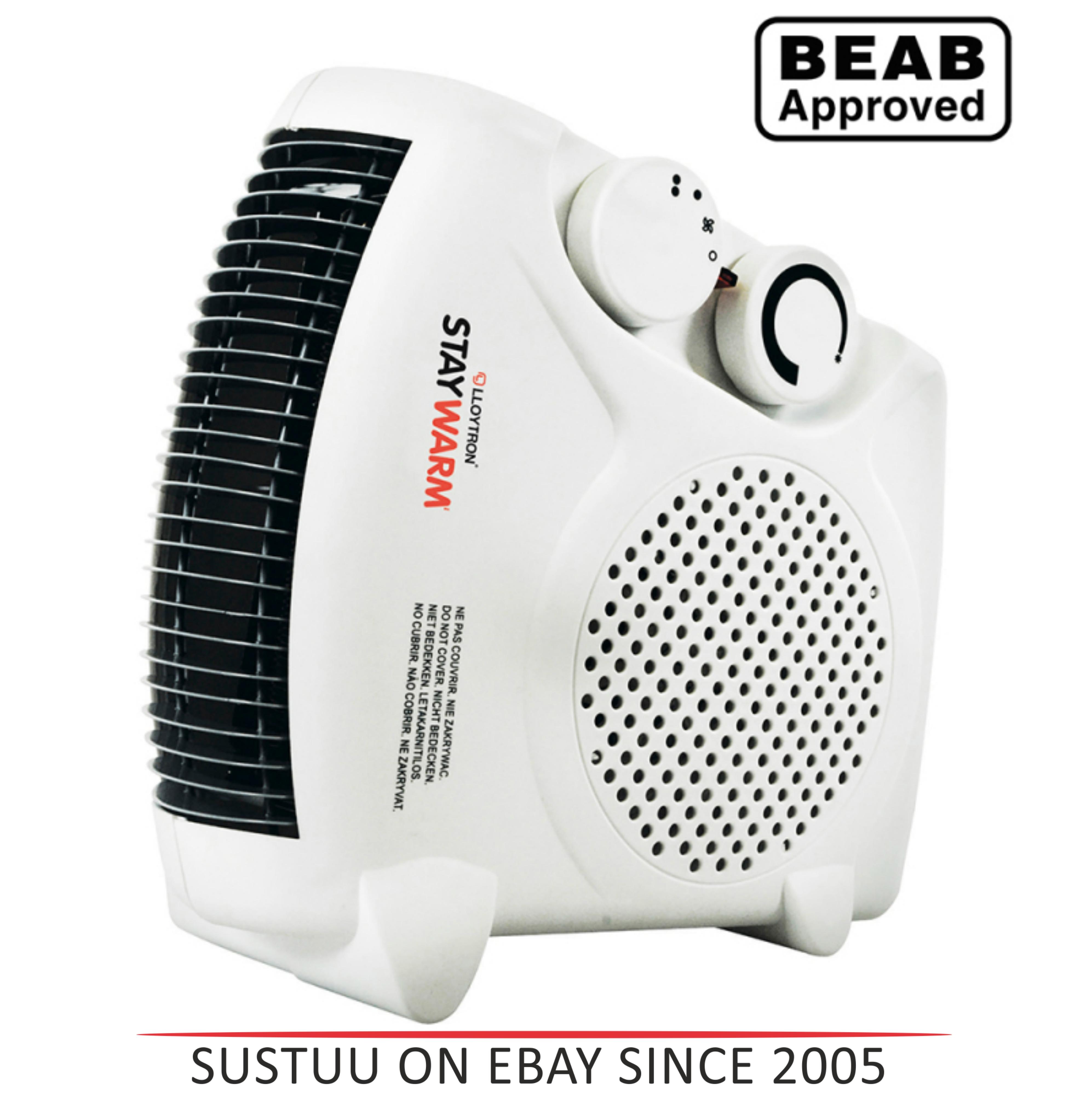 Lloytron F2003WH 2000w Fan Heater| 2 Heat Settings & Cool Blow| Auto Cut-off | White